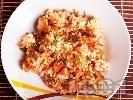 Рецепта Ориз на фурна с праз, домати и пилешко филе